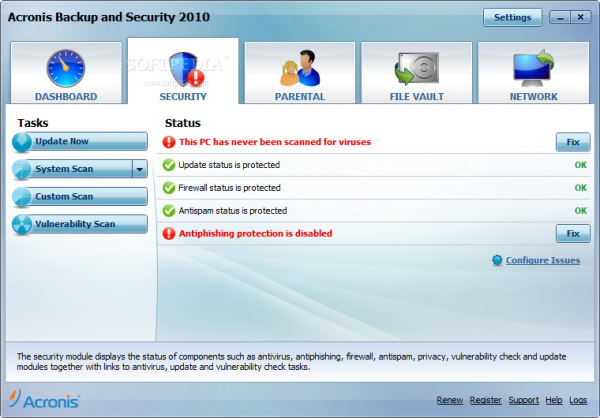 Problems with Acronis Backup and Security 2010