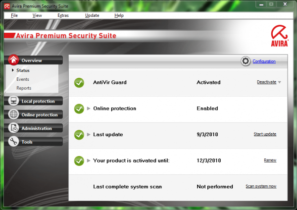 Avira Premium Security Suite 10 versus the Free Version