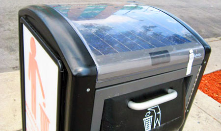 Solar powered garbage can by Big Belly's