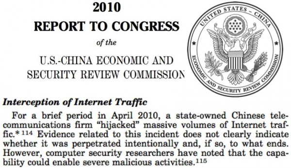 Major China Telecom Company believed to have hijacked U.S web traffic in the past year