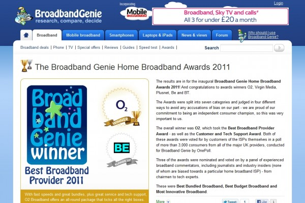 Home Broadband Awards 2011