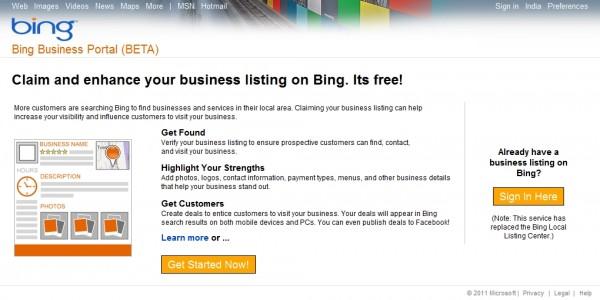 Bing Business Portal