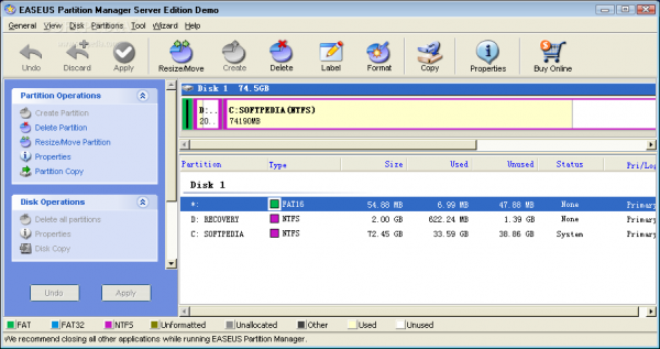 EASEUS Partition manager version 3.0- server edition