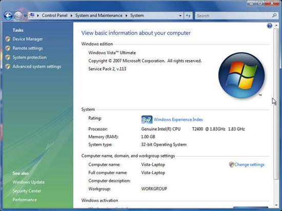 Windows Vista Service Pack 2 SP2 64-bit x64 screenshot
